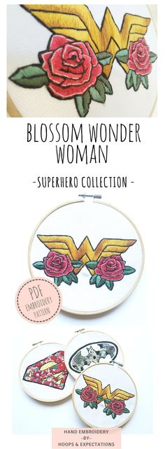 PDF Embroidery Pattern Blossom Wonder Woman, Superhero collection. Hand Embroidery. Hoops & Expectations