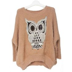 Pretty Khaki Owl Knit Pullover$47.00 ($47) ❤ liked on Polyvore