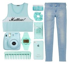 """""""OOTD // #6"""" by pastelhumans ❤ liked on Polyvore featuring Uniqlo, Fujifilm, Timex, Estée Lauder, Topshop and H2O+"""
