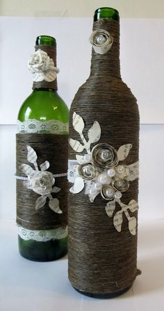 30 Ideas for Decorating Your Wine Bottles...love the dark twine