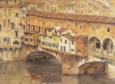 Anton Pieck (Dutch, 1895 – ~ Reistekening, Italië Living on a bridge Dutch Artists, Famous Artists, Illustrator, Anton Pieck, Cityscape Art, Dutch Painters, Realistic Paintings, Abstract Drawings, Urban Sketching