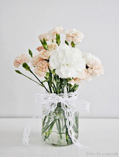 20 Sweet Spring Flower Arrangements - Page 4 of 20 - Carnation Centerpieces, Carnations, Wedding Centerpieces, Wedding Table, Our Wedding, Dream Wedding, Wedding Decorations, Spring Flower Arrangements, Flower Vases