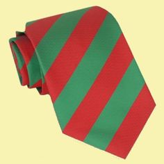 Cherry Red Green Stripes Formal Boys Ages 7-13 Wedding Straight Boys Neck Tie