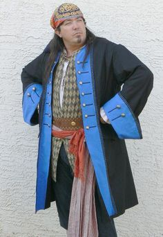 Colonial Style Pirate Coat Front Facing Renaissance Historical LARP Costume. $177.00, via Etsy.