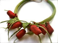 Romantic handmade flowers necklace felt necklace by jurooma