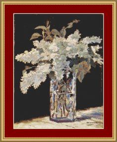 White Lilacs Cross Stitch Pattern