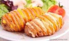 Patatas rellenas Hasselhohh al horno - Patatas gratinadas - Patatas asadas rellenas - Recetas de patatas - Patatas rellenas con queso y jamón de york