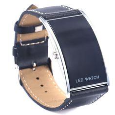 LED-es digitális Date Watch bőrszíj Rozsdamentes acél Alkalmi Lady Men karóra | eBay