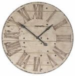 Distressed Antique Ivory Wall Clock- Harrington
