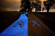 The solar-powered path is made from a synthetic material that charges throughout the day. When the sun sets, it stays lit for 10 hours.