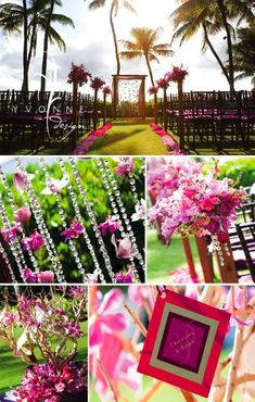 Wedding favorites - hot pinks, hanging crystals and orchids, beautiful aisle, twigs... love, love, love