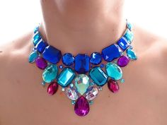 Blue and Purple Bib Necklace, Rhinestone, Statement Necklace, Sparkly, Jeweled Bib Necklace, Formal Jewelry, Bridesmaid, Colorful, Bright