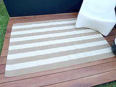 Woven Rug – Natural/Cream Stripe