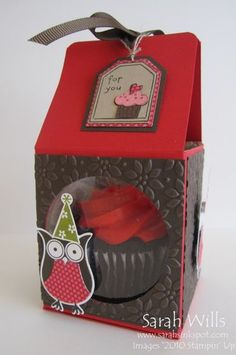 Don't you just love this box?  And it is SO very easy to make from just one sheet of card stock – I decorated it using card stocks that I textured with an embossing folder and made a circular window in the front and added a Window Sheet so that the yummy cake is visible…    And here is a co-ordinating cute Cup Cake Owl Pick that is perfect for decorating cakes on the party table…
