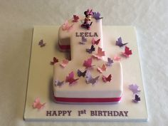 A simple yet beautiful design for a little girl's 1st birthday! #BirthdayCakes