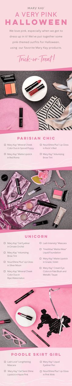 Trick or pink treats! These pink-themed costumes make for a gorgeous Halloween. (This year were feeling the unicorn! Spa Facial, Pink Halloween, Halloween Looks, Halloween Costumes, Make Up Looks, Pink Treats, Selling Mary Kay, Mary Kay Cosmetics, Eyeliner Pen