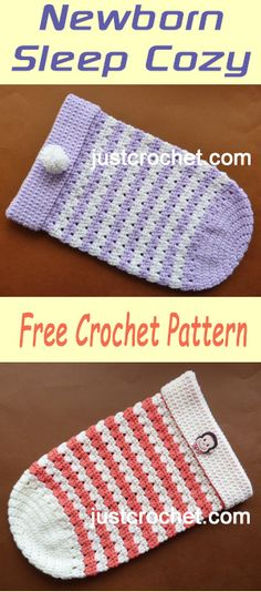Free baby crochet pattern for newborn sleep cozy. #crochet