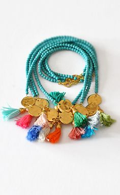 Aqua Bead Two Strand and Tassel Necklac Multi by stellacreations