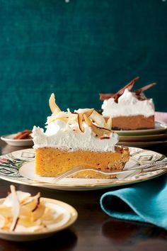 Coconut-Pumpkin Chiffon Pie - Perfect Pumpkin Pie Recipes - Southernliving. Recipe: Coconut-Pumpkin Chiffon Pie  Make and refrigerate without the topping a day ahead. Whip and add the topping before serving.