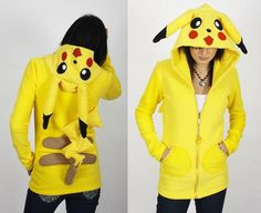 Style yourself like the most popular Pokémon ever with the Pikachu hoodie. These geeky hoodies are made from scratch using a soft yellow fleece material and feature Pikachu's face and ears. Other Pokémon characters are available by request as well. Pikachu Sweater, Pikachu Hoodie, Pikachu Pikachu, Charmander, Sweat Cool, Fashion Vestidos, Harajuku, Geek Crafts, Hipster
