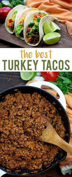 taco recipes Ground turkey tacos are a little lighter on the fat content but packed with flavor! This turkey taco recipe is a family favorite in my house and I bet it will be in yours too. Made from scratch and oh so good! Healthy Ground Turkey, Ground Turkey Tacos, Ground Turkey Seasoning, Best Turkey Taco Recipe, Easy Taco Recipe Ground Turkey, Recipes With Ground Turkey, Turkey Meat Recipes, Mexican Food Recipes, Dinner Recipes