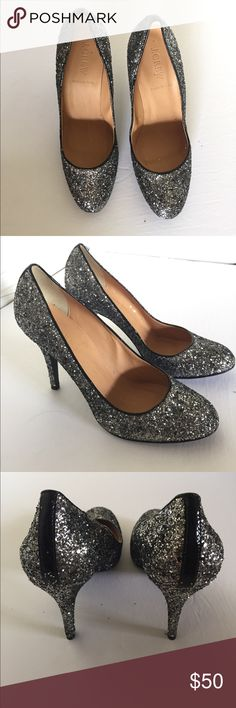 J. Crew Mona Metallic Graphite Glitter Pumps Sophisticated glam pump heels, never been worn. They are perfect for any outfit. Labeled as an 8 1/2 but they run very small. These fit like a 7 1/2 or 8 J. Crew Shoes Heels