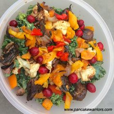 Big Beautiful Kale Salad - rehydrated cranberries soaked in stevia water, butternut squash, cauliflower, balsamic vinegar, mushrooms, red onions, red & orange bell pepper, salmon (optional, for topping)
