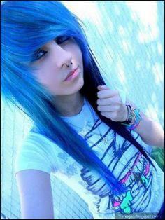 blue emo scene hair I like the cut short back with long side
