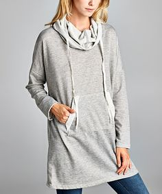 Look what I found on #zulily! Heather Gray Pocket Hooded Cowl Neck Tunic #zulilyfinds