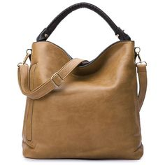 Pure Color Metal PU Leather Tote Bag CAMEL: Bags | ZAFUL (£21) ❤ liked on Polyvore featuring bags, handbags and tote bags
