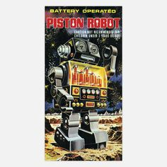 Retro Futurism inspired Piston Robot Print