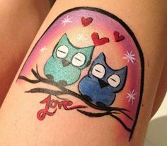 Owls - Original Design by Contain A Scene Face Painting