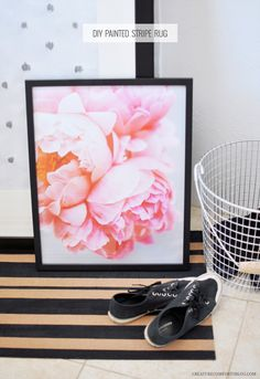 paint stripe, frame, stripe rug, bucket, poster, pink peonies, peoni photo, diy rugs