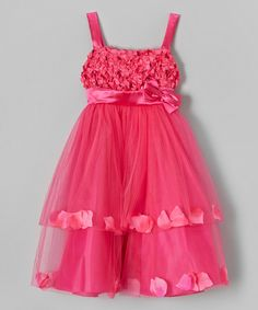 Fuchsia Petal Dress - Toddler & Girls rose petal flower girl dress. Ivory & champagne too