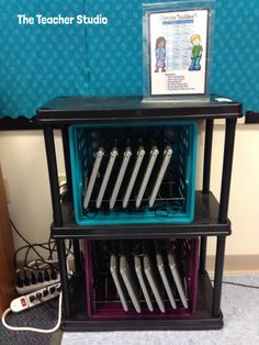 Monday Made It: Bulletin boards, signs, giveaway winners, and more! Check out how I am storing my new Chromebooks.some classroom decor ideas and MORE! Classroom Setup, Classroom Design, Classroom Organization, Classroom Management, Organization Ideas, Google Classroom, School Classroom, Classroom Control, Organizing