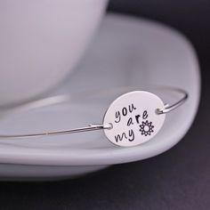 You are my Sunshine Bracelet, Sterling Silver Bangle Bracelet, Jewelry Gift, Sunshine Jewelry. $36.00, via Etsy.