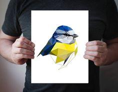 Items similar to - Yellow-fronted woodpecker - art print - Geometric - Bird art - blue, black on Etsy Geometric Bird, Geometric Poster, Geometric Logo, Bird Prints, Wall Art Prints, Art Vert, Sparrow Art, Woodland Nursery Prints, Minimalist Art