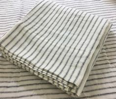Ebony Slate White Striped Linen Bed Sheets Set, All Sizes, Extra Deep Linen Bed Sheets, King Sheets, Linen Bedding, Bedding Sets, King Pillows, Pillow Shams, Pillow Covers, Oxygen Bleach, Textiles