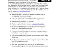 Song Worksheet: Yesterday by the Beatles (ESL Cloze Listening Game - Stative/ Non-Action Verbs)