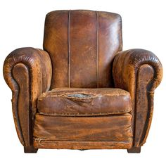 1stdibs.com | French Art Deco Leather Lounge Chair