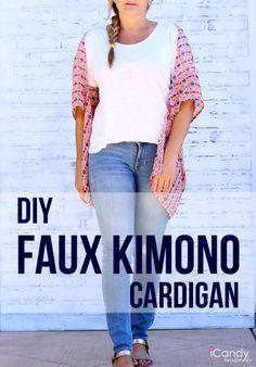 Easy DIY faux kimono cardigan tutorial