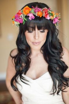 Orange and purple flower crown // Bridal Musings 6