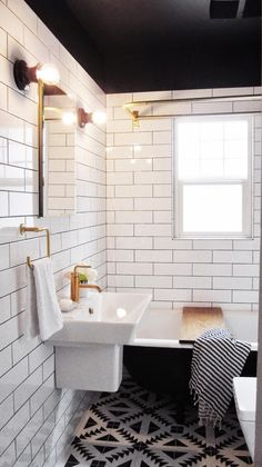 love the colored ceiling + white tile wall and patterned floor