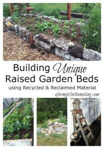 Build raised beds out of recycled or reclaimed material allowing for a greener homestead and a creative design.  afarmgirlinthemaking.com