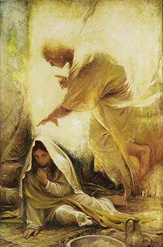 """❦☀❦ An Angel Foretells Christ's Birth to Mary ❦☀❦ Beautiful painting titled """"Blessed Art Thou among Women"""" by Walter Rane"""