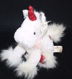 "Baby Unicorn Pony Sparkle White Stuffed Plush Dan Dee 8"" Red heart has scratches #DanDee"