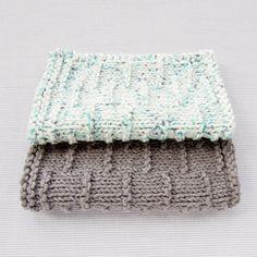 Dashed Stripe Knitted Washcloth - knitting pattern