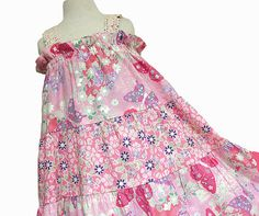 How cute for my 2 girls!  Pastel Butterfly & Flowers Girls Spring Dress  by BerryPatchUSA,