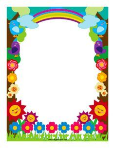 Flowers and rainbows decorate this colorful border Frame Border Design, Boarder Designs, Page Borders Design, Page Borders Free, Boarders And Frames, Scrapbook Frames, Colorful Frames, Cute Frames, Borders For Paper