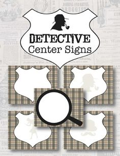 "This listing contains five variations of mystery detective 8.5""x11"" Center Signs featuring classic detective silhouettes and the signature detective's brown plaid backgrounds. Each sign includes a large blank space for your center's name. There are two options included:- PDF format for handwritten personalization after printing. - Word document for typing directly onto the document before printing."